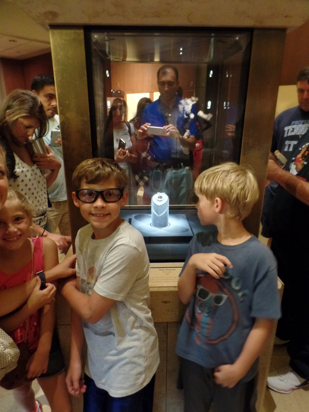 The kids posing with the Hope Diamond. I told the kids this was at the top of my wish list for my birthday.