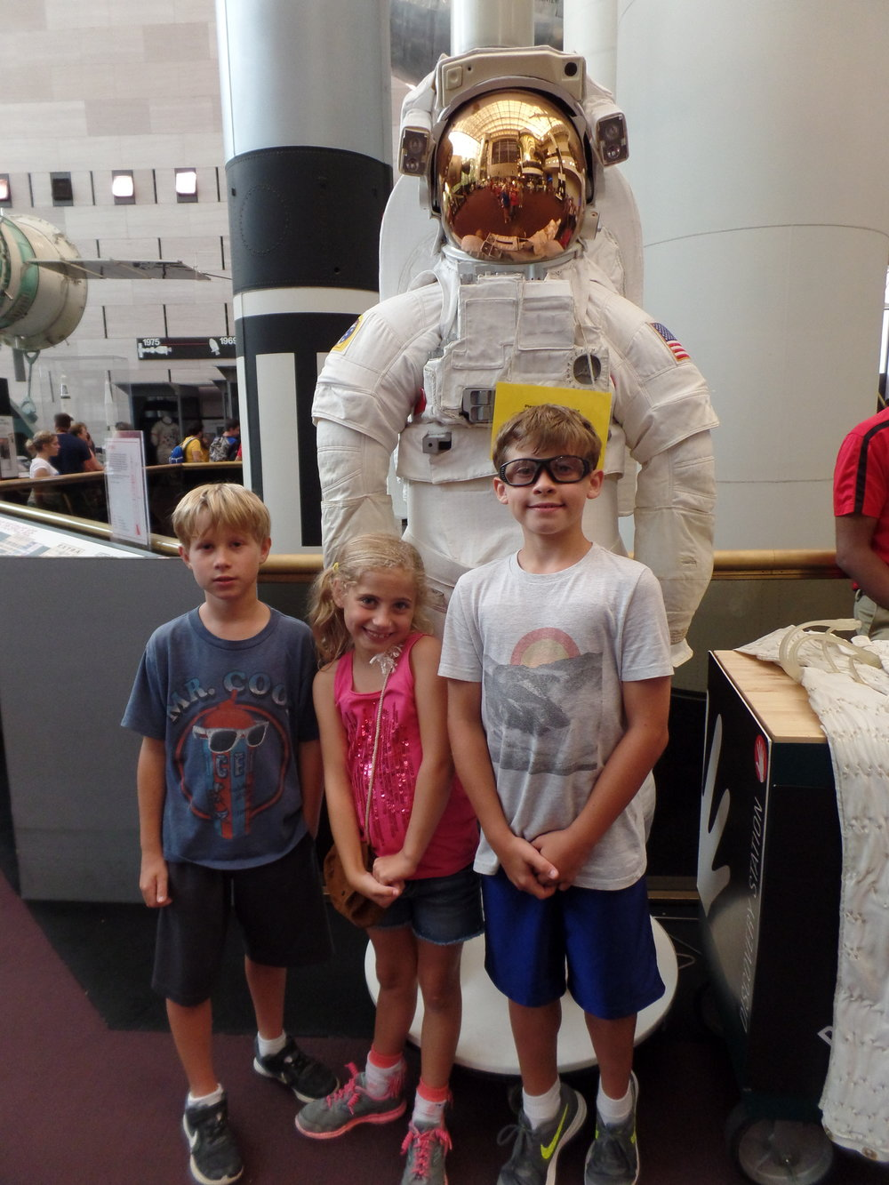 We went to the Air and Space Museum. The kids saw a real space suit.