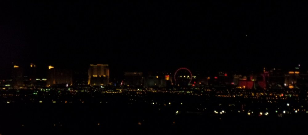 The late-night view of the strip.