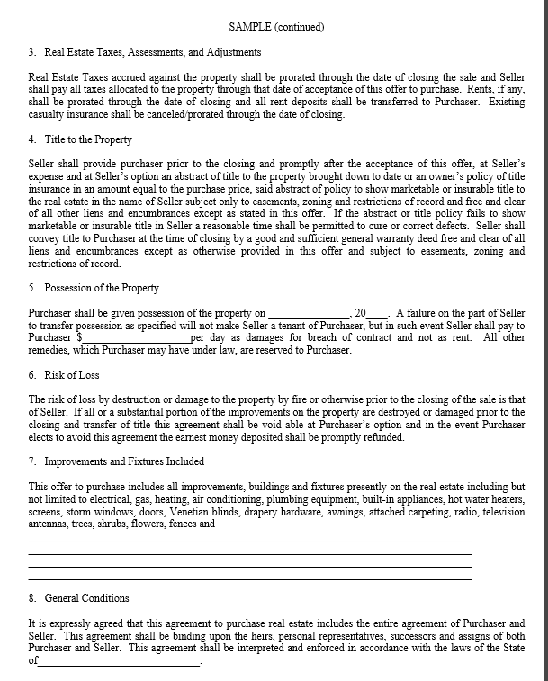 This Is A Sample Document For Reference Only And Not To Be Use In A Real  Estate Transaction Without Legal Council