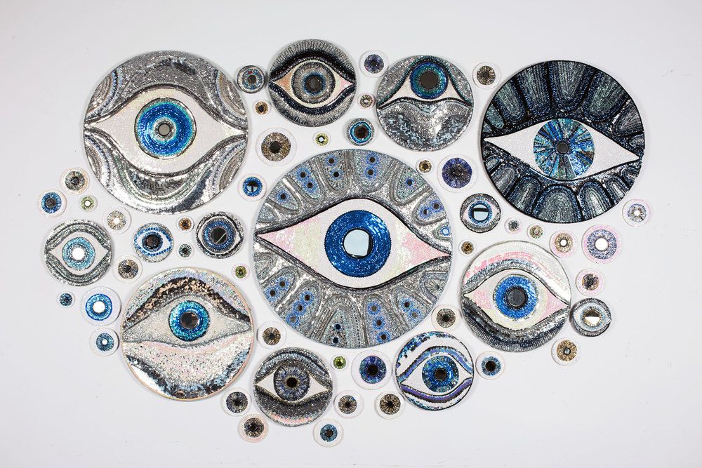 "Hall-Barnett Gallery_Merrilee Challiss_""Eyes of Protection""_115""x75""_Mixed Media_2017_POR.jpg"