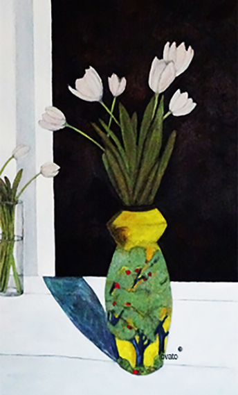 lovato-taos art company-oil   painting-white tulips and yellow vase-black background-facebook.jpg