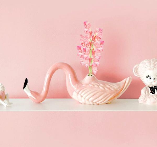 Flamingo Vase & Standing Flamingo