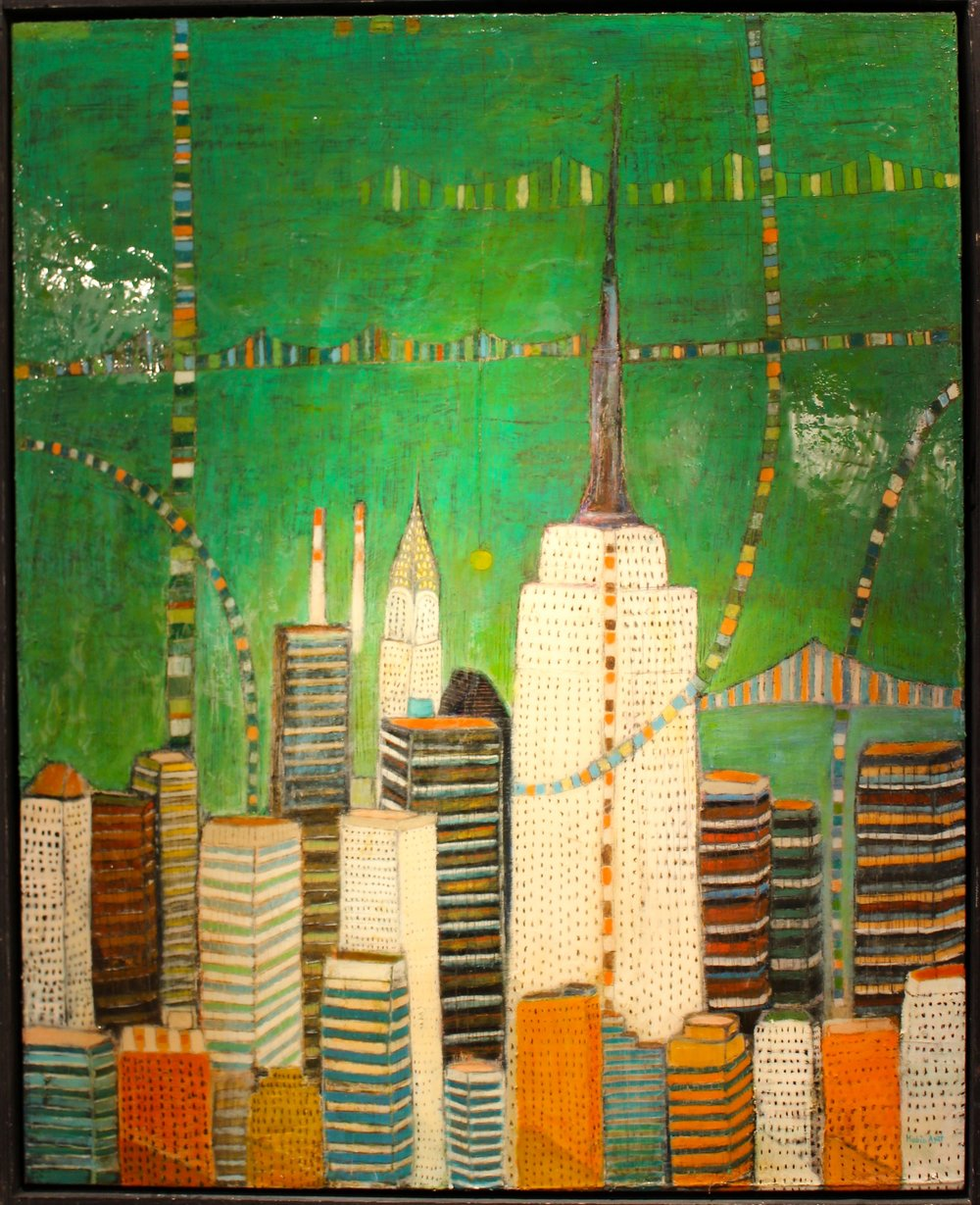 """City in Green"", 49.5""x48""     Original price $3500"