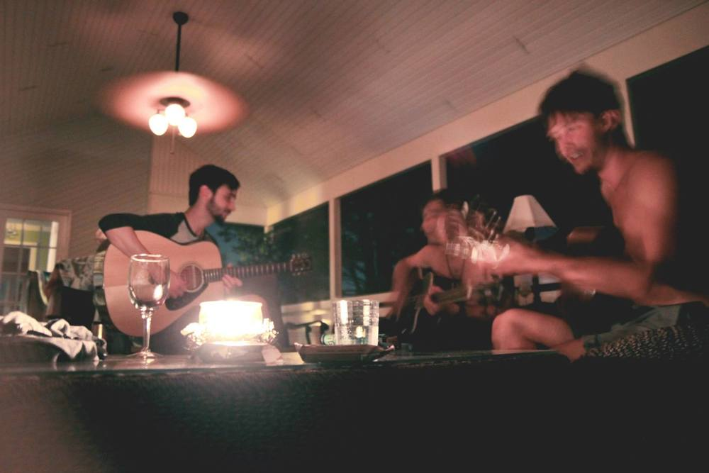 writing music on the porch