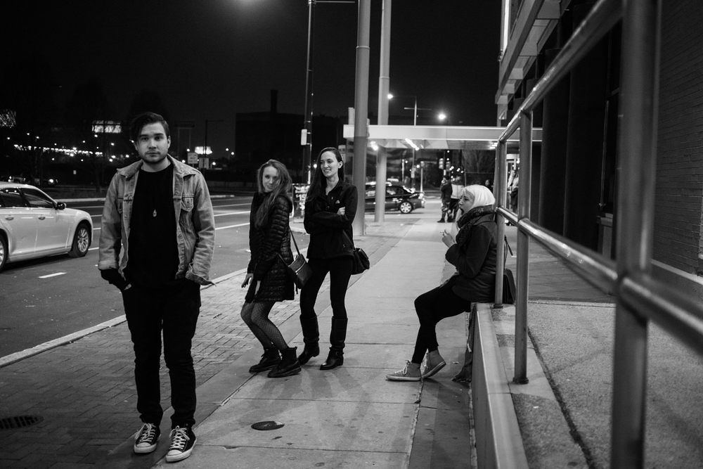 black and white photo in Philly hanging out