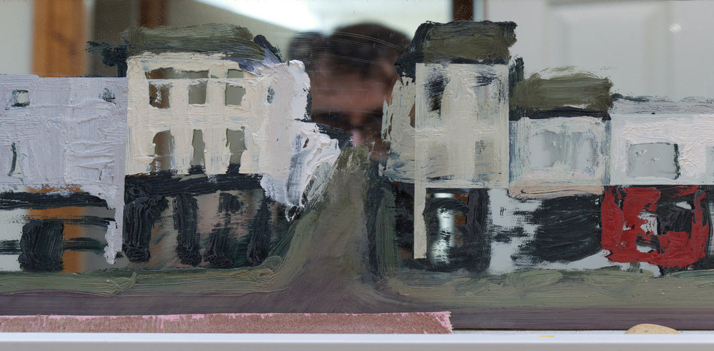 little settlement painting (detail 001)  oil, mirror, and wood 2018    Click on Image for Emergency Studio Blog