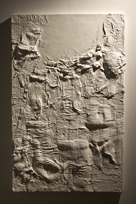 """Submerge"". Plaster gauze and molding paste on canvas."