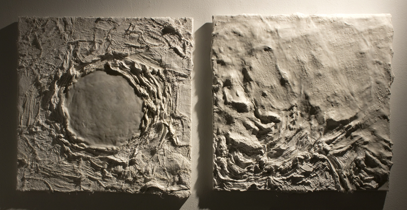 """The Only Real Movement is Return"". Plaster gauze and molding paste on canvas."