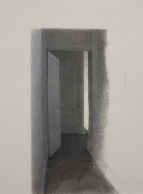 """Portal."" Charcoal on paper, heightened with white, 2016."