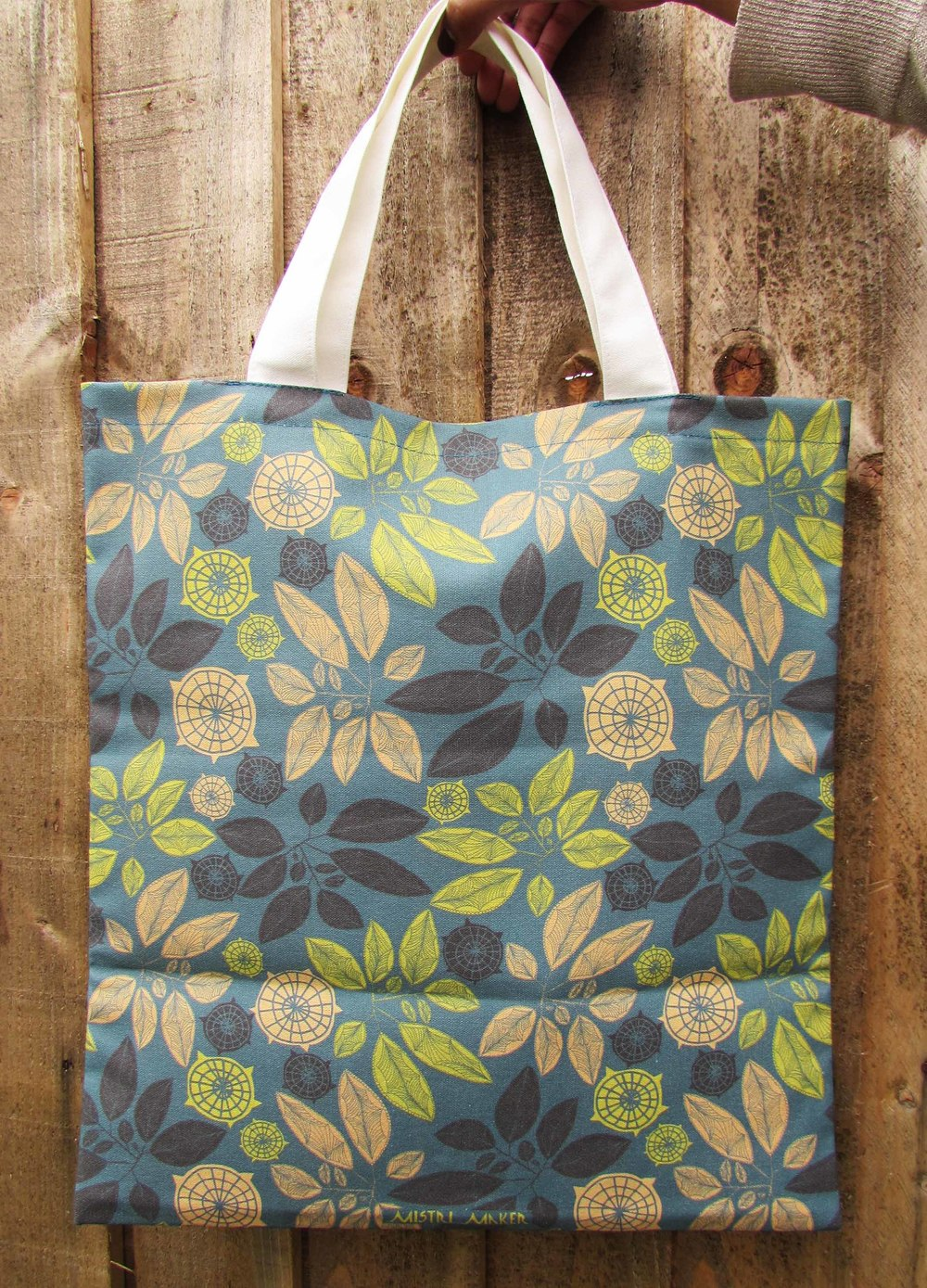 Leaves & circles dark canvas bag.jpg