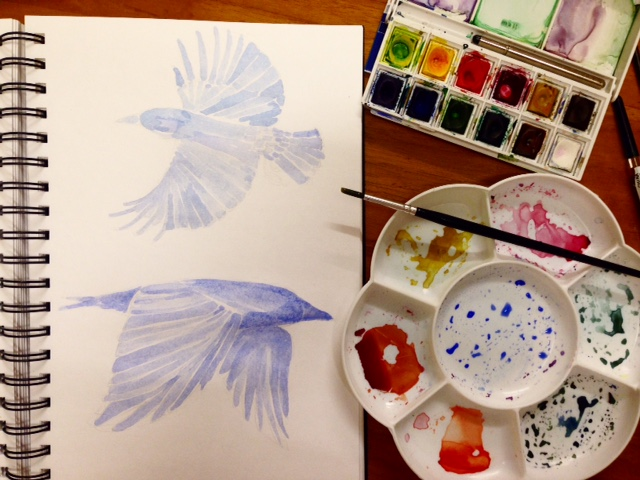 The first attempt of watercolour crows