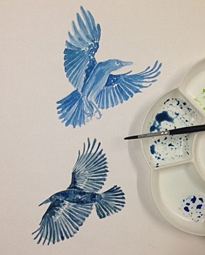 Blue and green watercolour crows