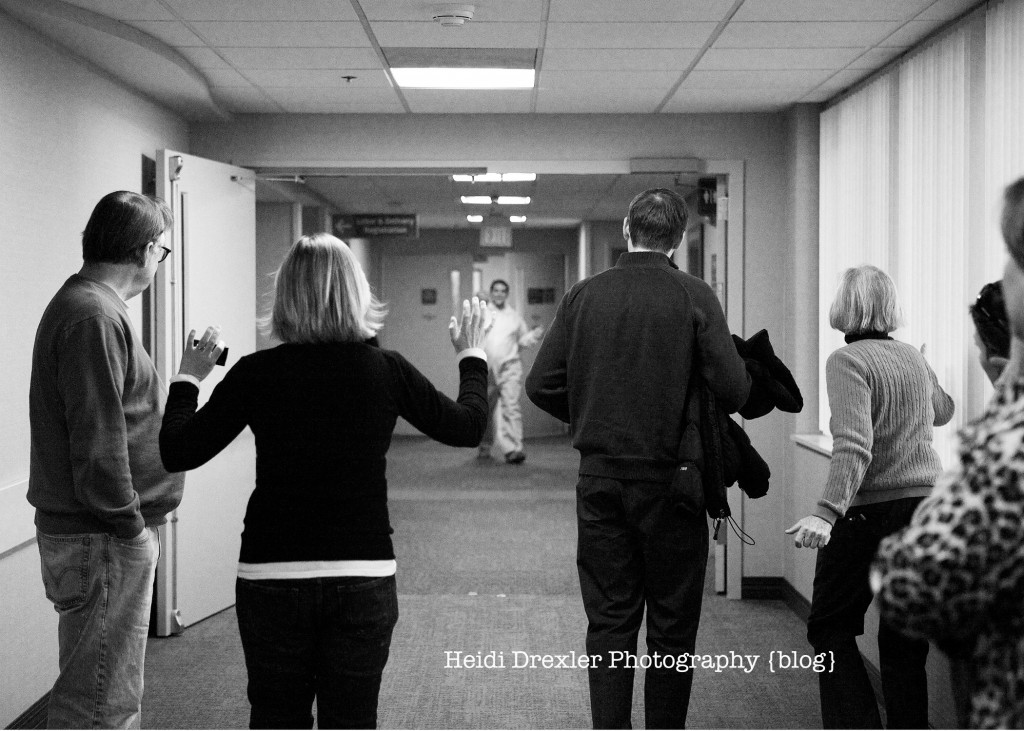 The proud papa coming out of the operating room to let us know BOY OR GIRL!!!