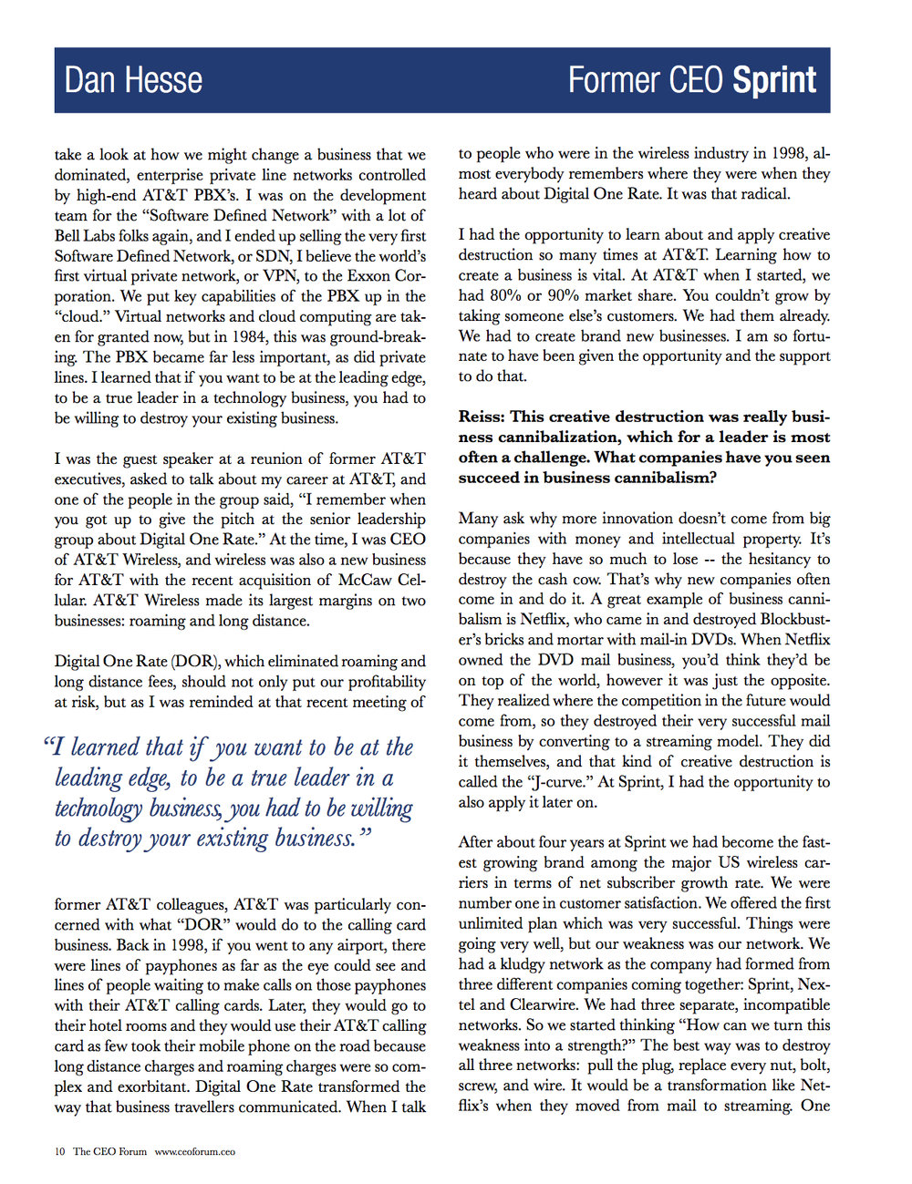 CEO Forum Magazine - Dan Hesse Page 10