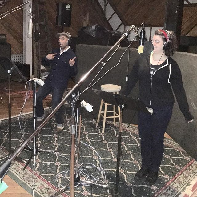 @jennywhiskey from Hub City Stompers joined us in the studio to record vocals and sax on some new tracks we got cooking! #dubpop #collaboration #recordingstudio #musicianslife #musicislife @rudeboyroger1 @marcoonthebass @lilgershwin