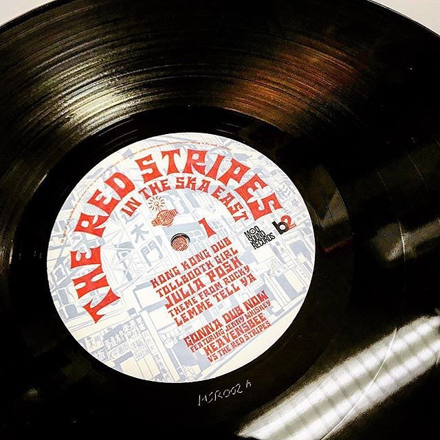 "Test plates are ready! Limited edition red vinyl featuring our remix of @the_red_stripes track ""Gonna Fly Now"" from their LP In The Ska East! @rudeboyroger1 @marcoonthebass @lilgershwin #remix #vinyl #dub #reggae @jennywhiskey"