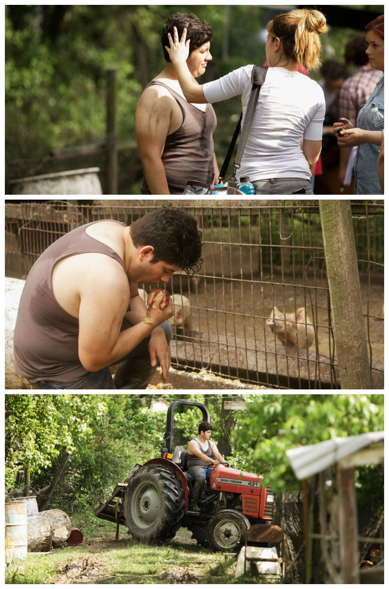 Behind the Scenes. - Nothing like working as an actor in the pig farm. There was nothing glamorous for Eduardo on a very hot summer day in Louisiana with flies, rotten food, and stinky pigs.  This was the first day of filming!