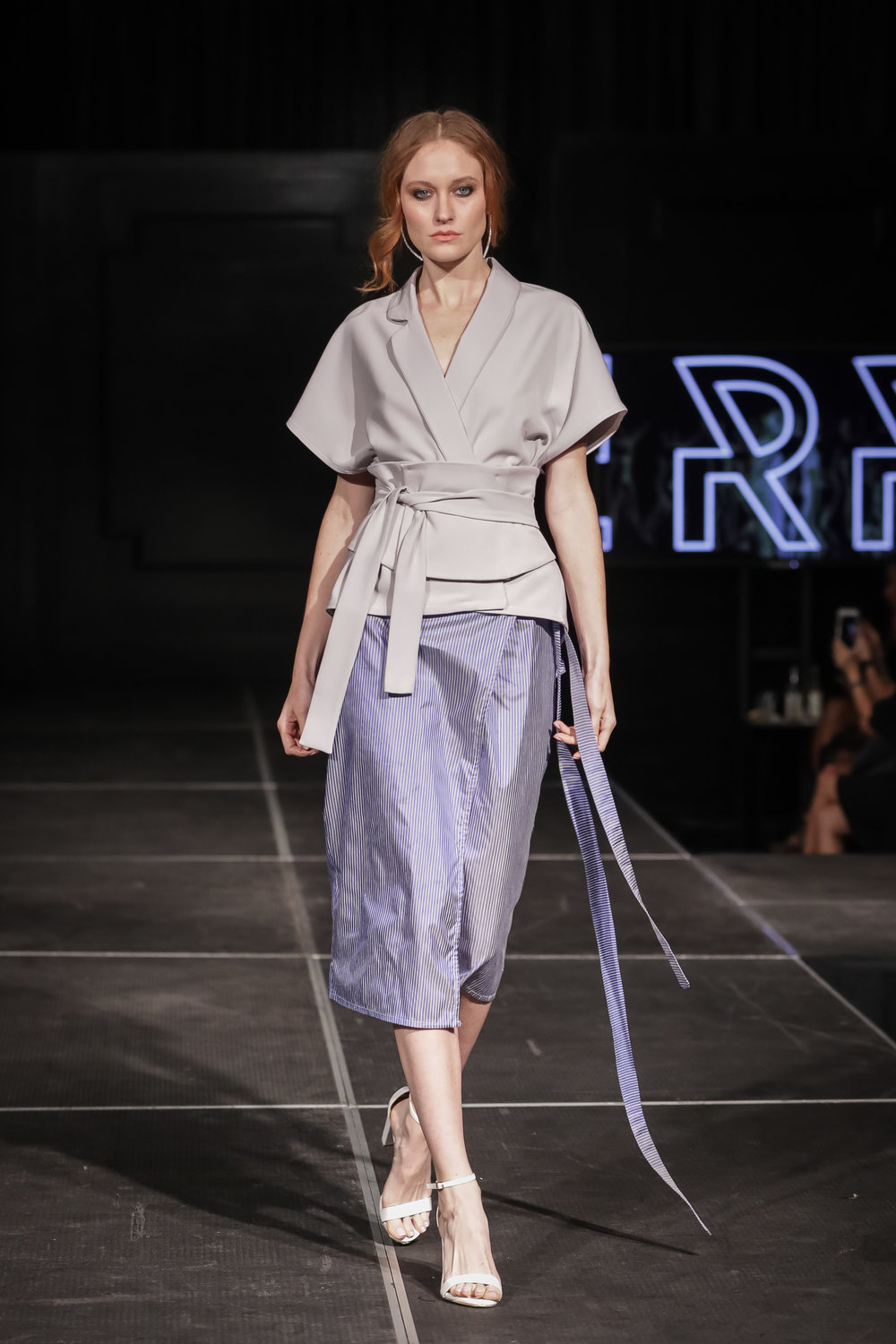 FERRAH SS18 Look 4 - i : Kyoto Wrap Corseted Blazer ii : Agra Wrap Skirt in Silk-Cotton