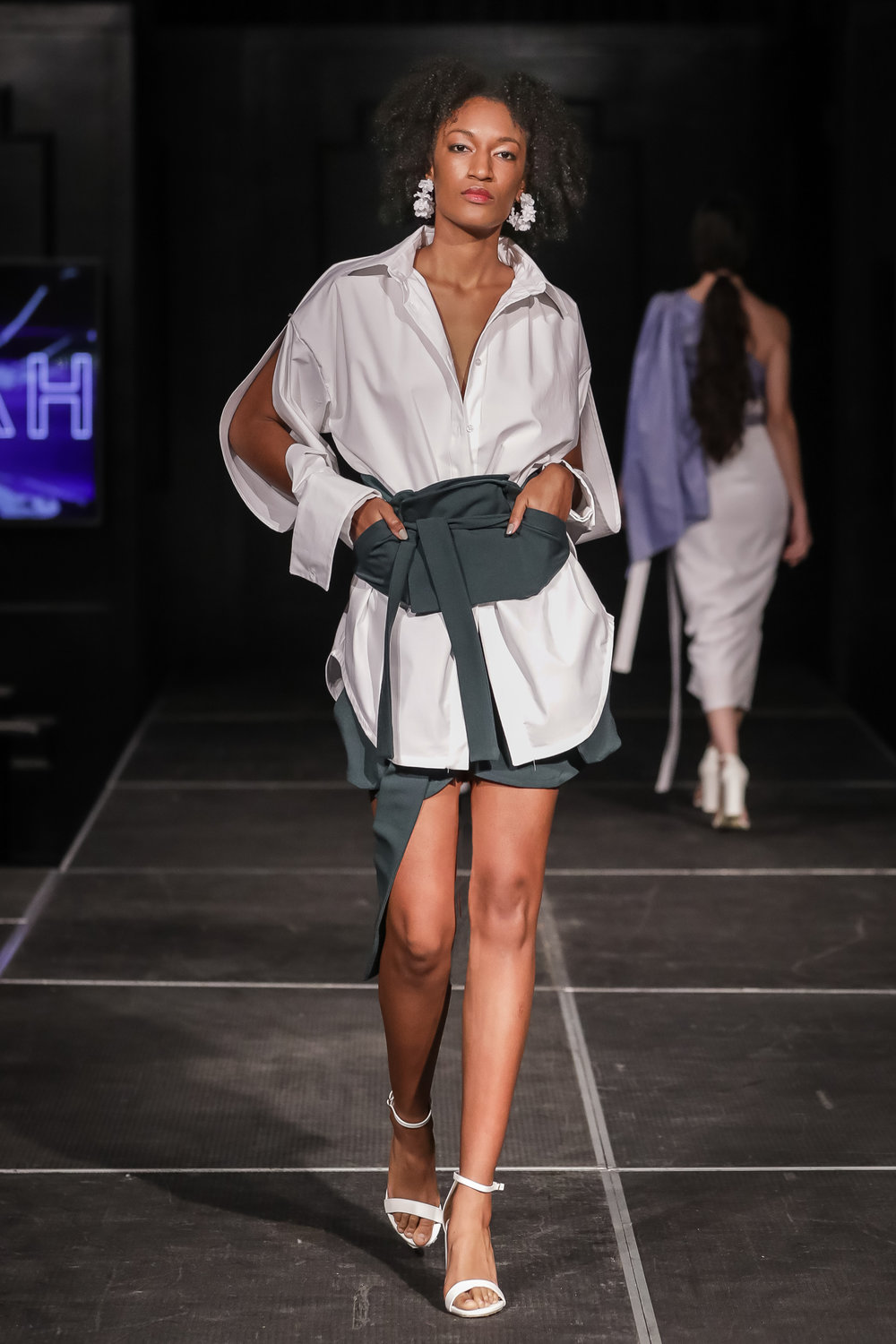 FERRAH SS 18 Look 6 - i : Yoko Deconstructed Shirtii : Kobe Corsetiii : Tomoe Draped Shorts