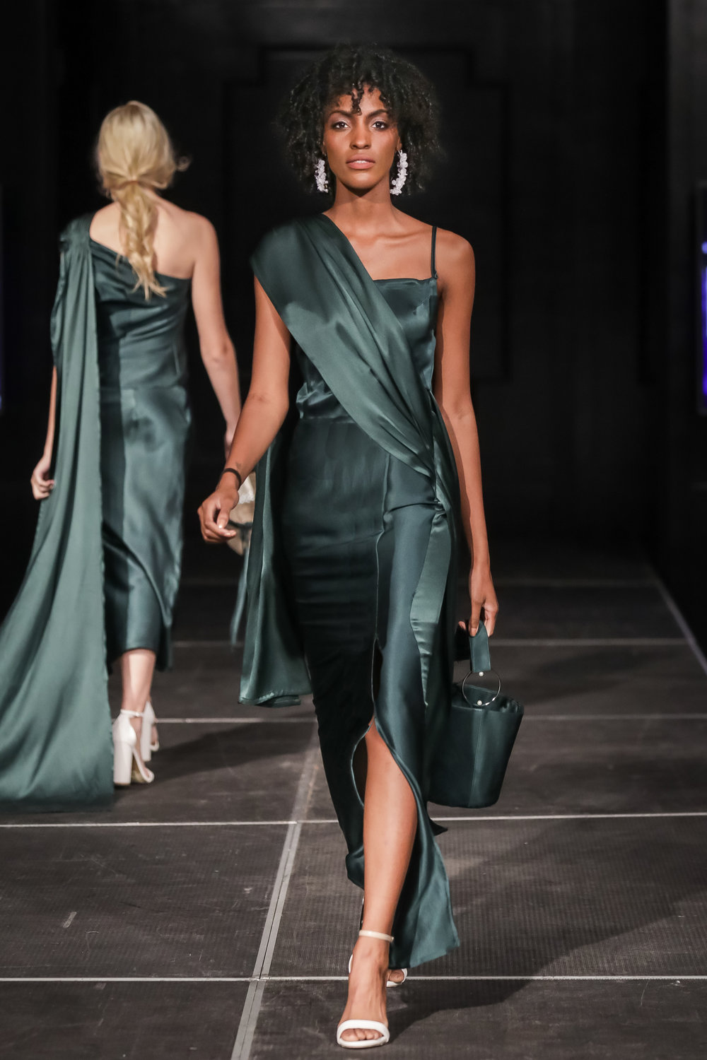 FERRAH SS 18 Look 11 - i :  Cleo Silk Satin Draped Gown in Emeral dii : Sendai Silk Bucket Bag