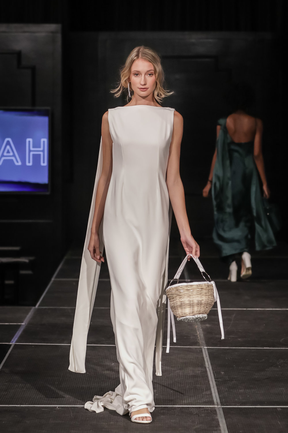 FERRAH SS 18 Look 12 - i : Loha Backless Gown in Crepeii : Sendai Pearl Bucket Bag