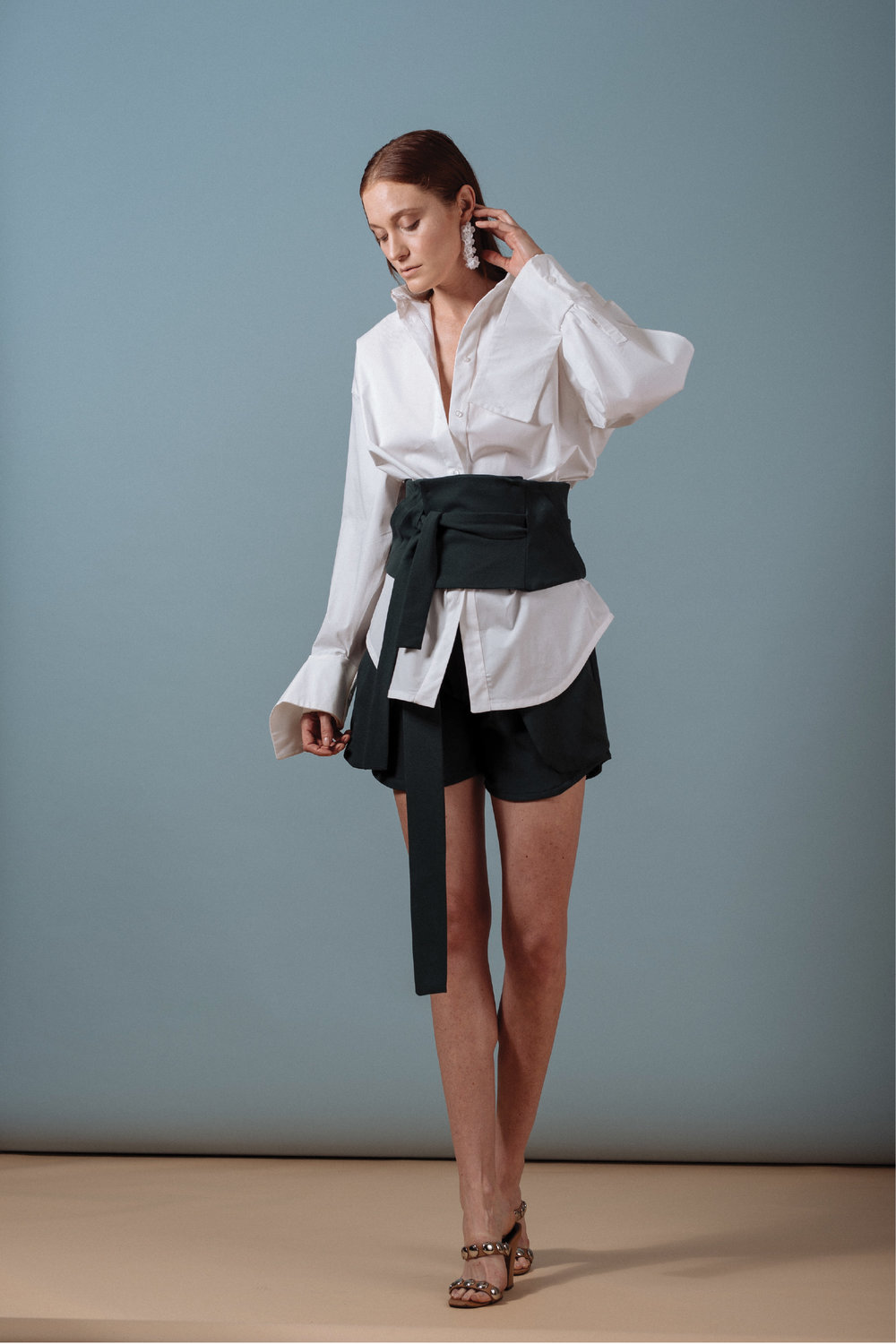 Look 1: #403 Yoko Shirt in White, #415 Kobe Corset w/ Pockets in Emerald, #408 Tomoe Shorts in Emerald