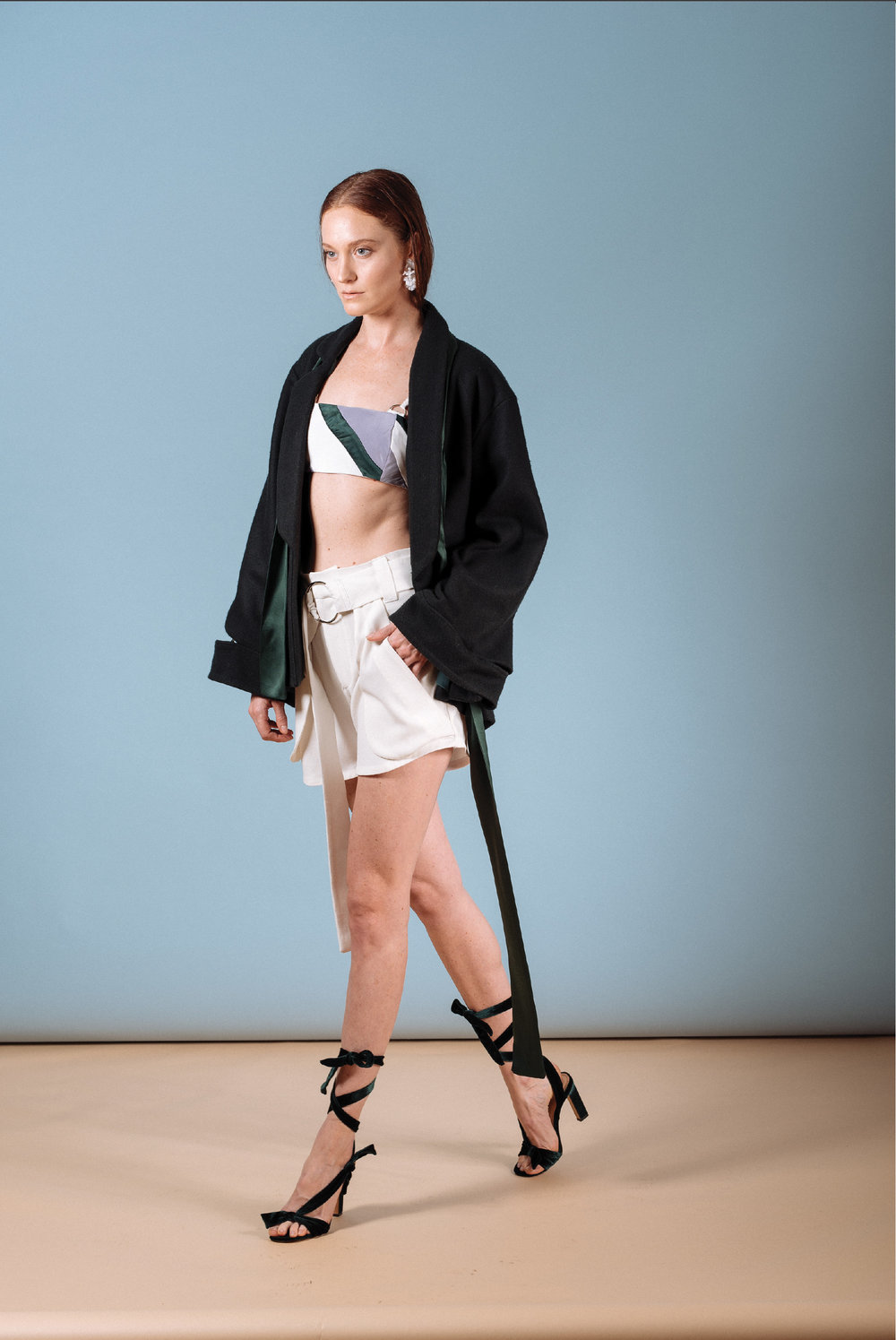 Look 3: #402 Frida Wrap Jacket in Emerald, #412 Nara Zero-Waste Bralette, #408 Tomoe Shorts w/ Exterior Pockets in Cream