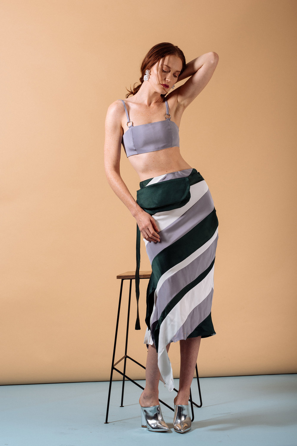 Look 7: #412 Nara Structured Bralette in Lavender, #414 Jaipur Zero-Waste Bias Skirt, #417 Mito Bag-Belt in Emerald