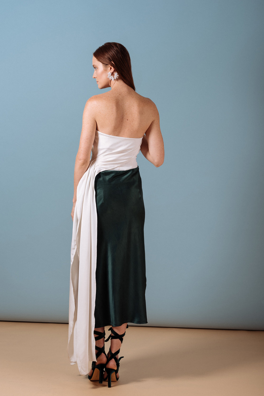 Look 8: #405 Gulabi Waterfall Draped Top in Cream, #307 Emma Mid-length Bias Cut Skirt in Emerald