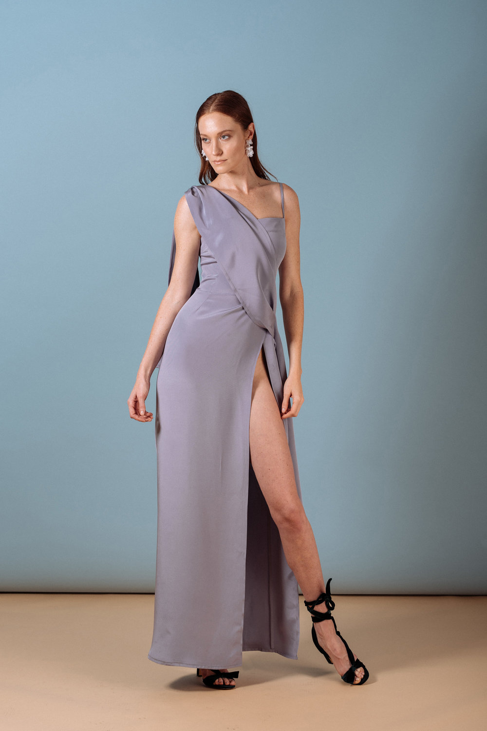 Look 9: #418 Cleo Draped Gown in Lavender (also in Emerald)