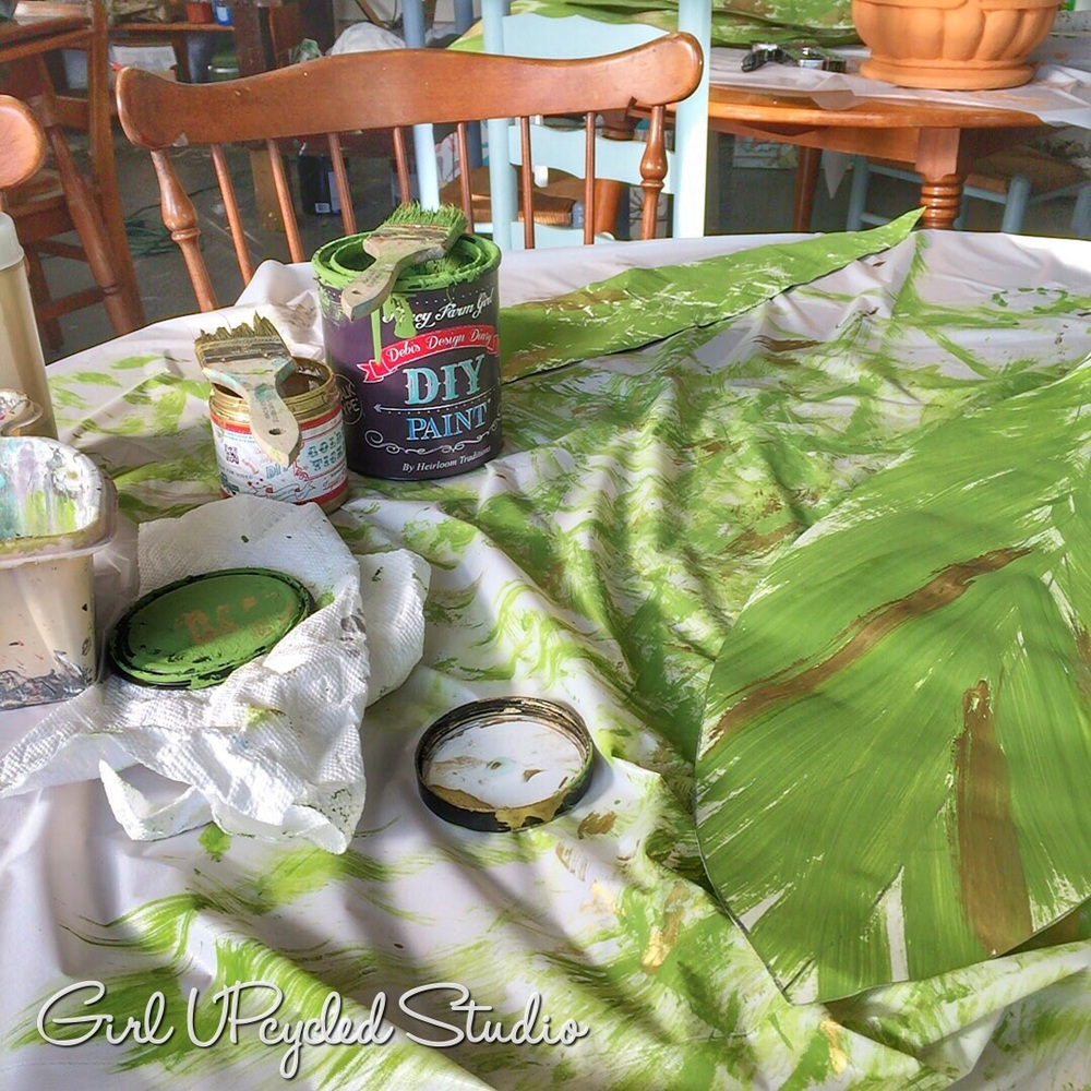 Using Fancy Farmgirl green with Golden Ticket DIY Paint from Debi's Design Diary