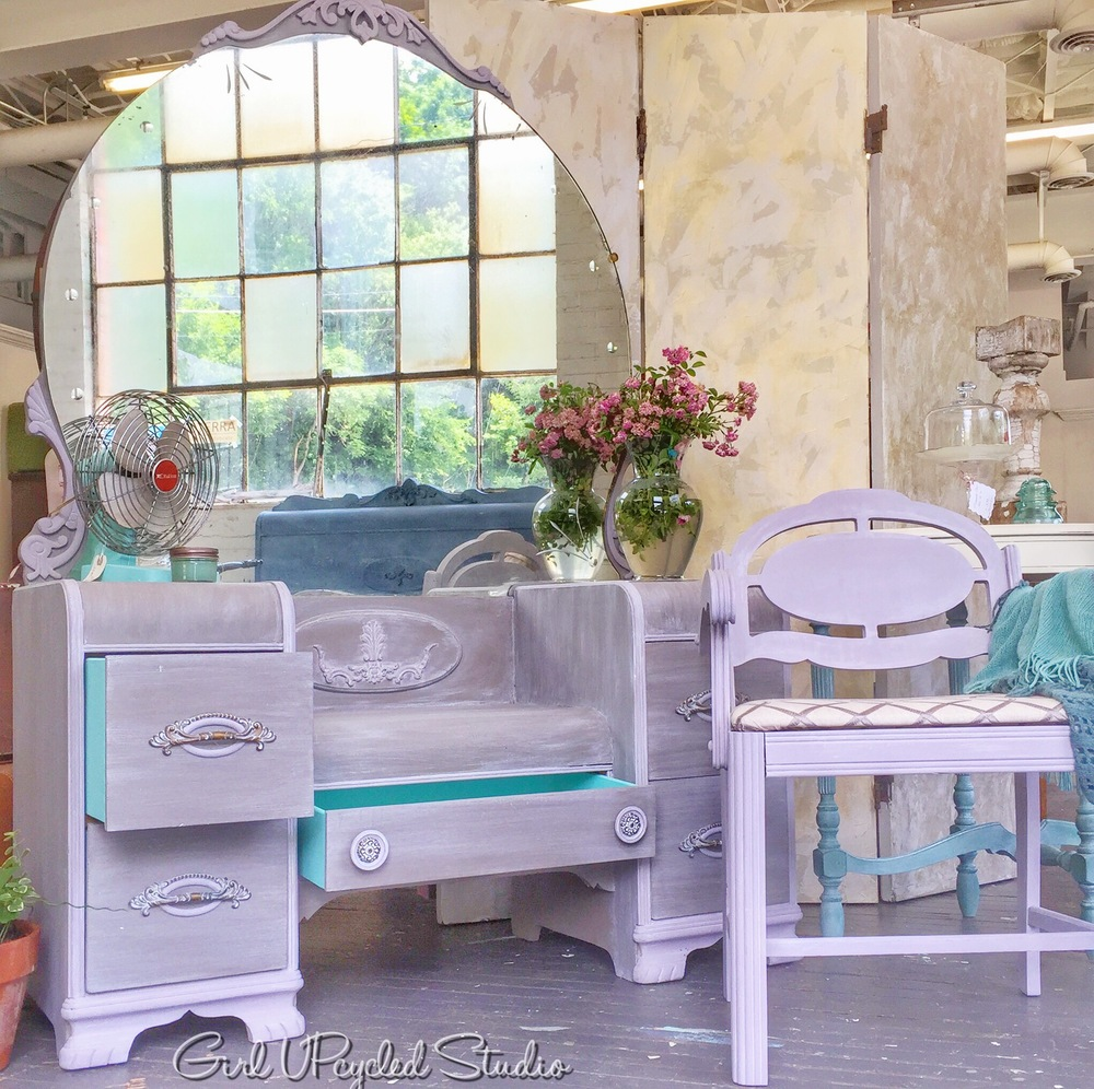 Vanity with decorative details in lavendar