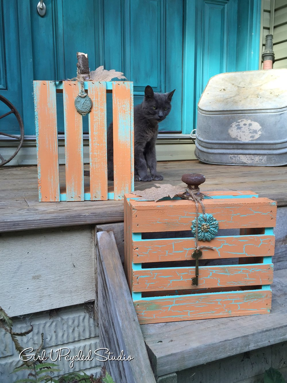 Easy DIY Cracke Crate Pumpkin