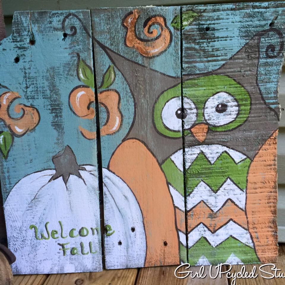 fall owl with pumpkin