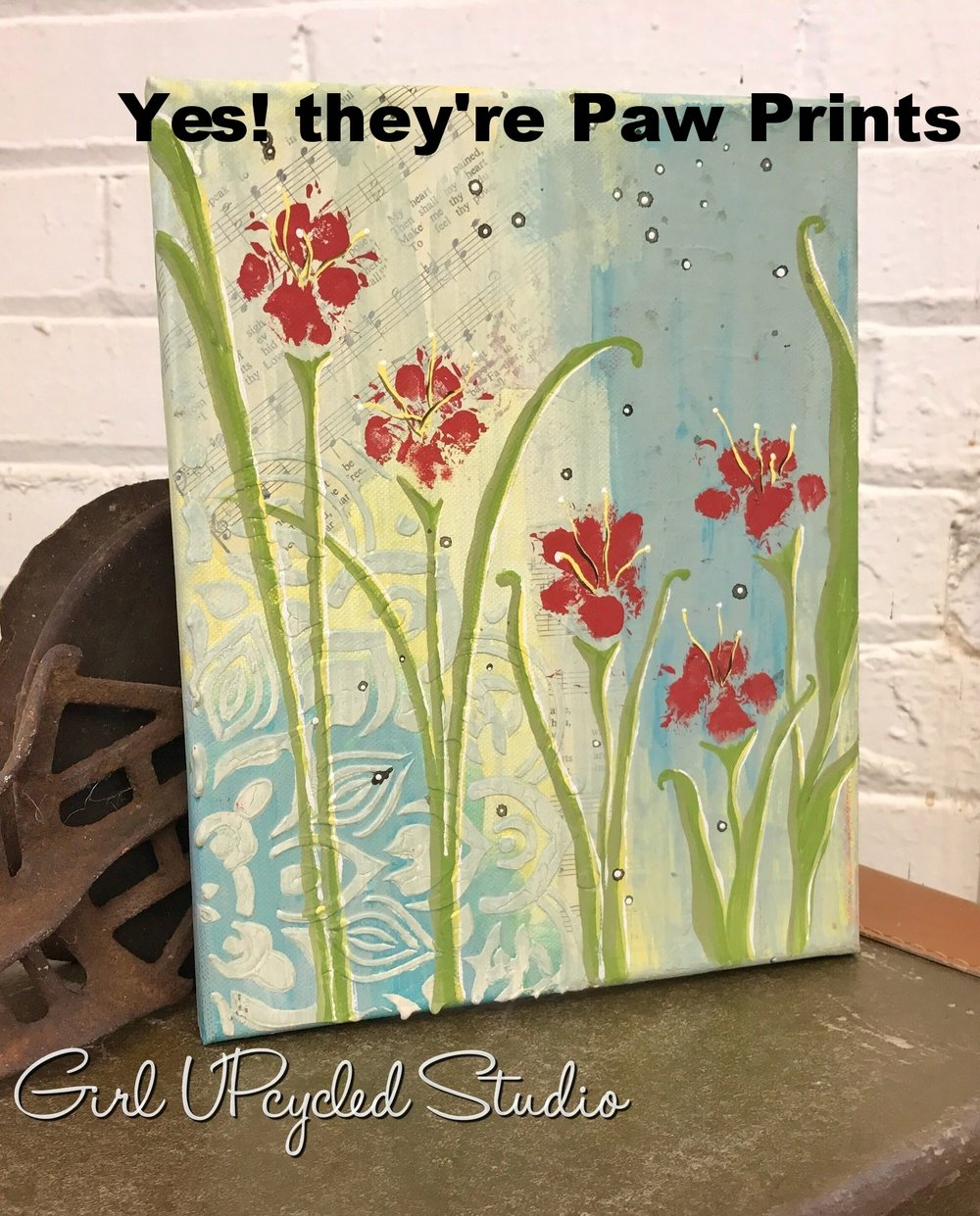 mixed media paw print class