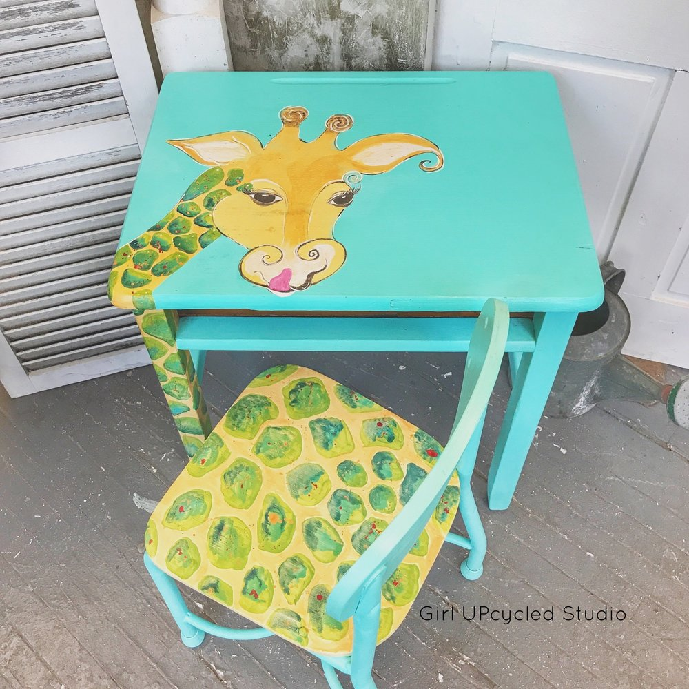 handpainted childrens desk