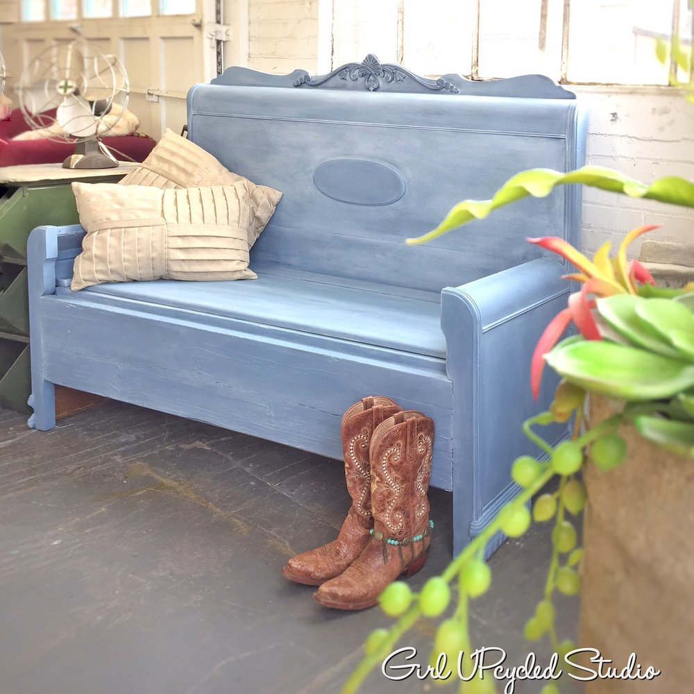 Upcycled Bench with storage in denim blue finish