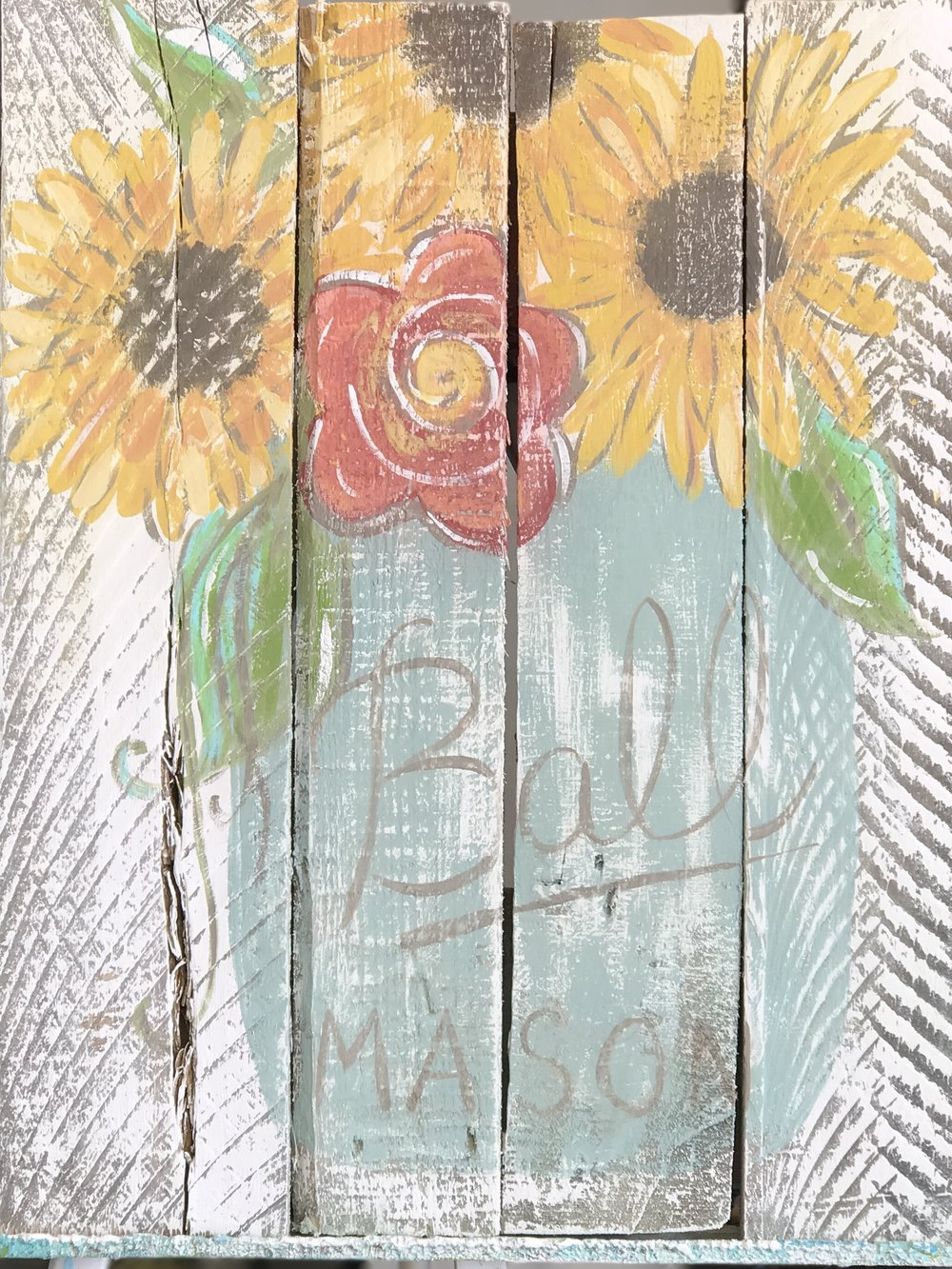 sunflower mason jar paint party