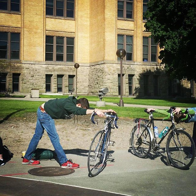 Thanks BE NICE teacher Caitlin Brown for representing at the pit stop for Wayne State for Bike to Work day. Bike to BE NICE today at noon for a 45 minute Hatha yoga break, or visit tonight for one of our three evening offerings! #biketoworkday #wsu #waynestateuniversity #yoga #detroityoga #michiganyoga #bikesandyoga #