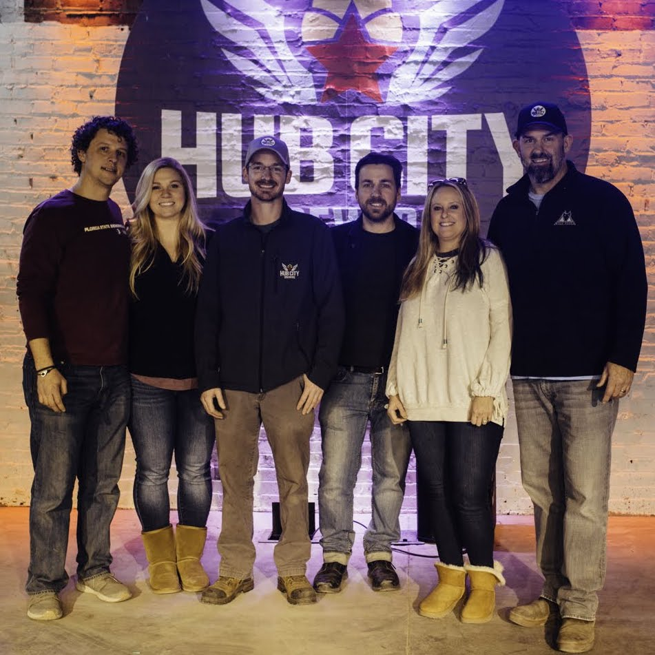 The Hub City Brewing team (from left to right): Trevor Jones, Area Operations Manager; Anna Brown, Event Coordinator; Cody Stooksberry, Brewmaster; Lewis Silvers, Area Manager; Jerry & Heather Corley, Co-Owners.