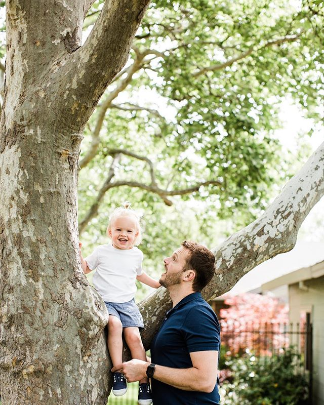 Little Knox's smile is infectious! Running around with Daddy and doing some tree climbing was exactly what these boys enjoyed doing together. . . . . . . . . . . . #charissaannephotography #granitebayphotographer #sacramentophotographer #daddyandson #familyportrait