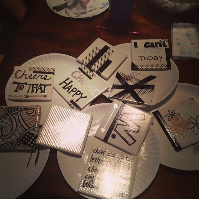 Ladies night! Making some coasters...