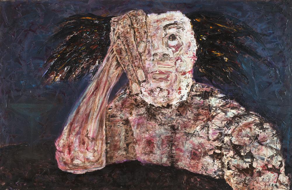 mixed media on canvas, 110.5 x 173 cm