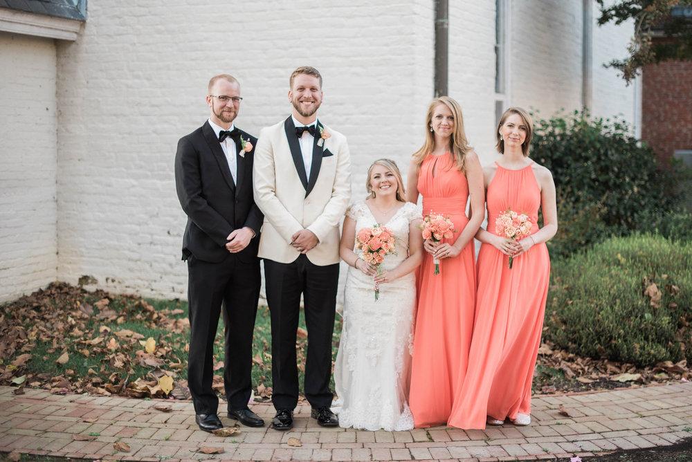 Saint Marys  Church Wedding Coral Bridesmaid Dresses