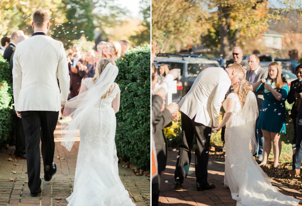 Saint Marys  Church Wedding Bride and Groom Kiss