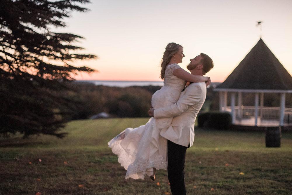 Saint Marys  Church Wedding Bride and Groom Sunset