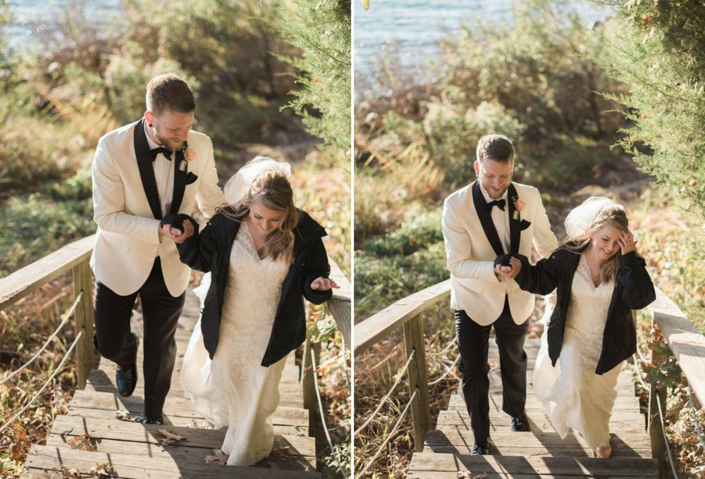 Saint Marys  Church Wedding Bride and Groom Boardwalk