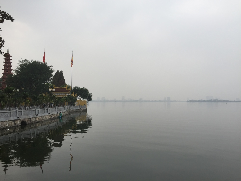 Smoggy and foggy afternoon in hanoi, vietnam near where john mccain was shot down and captured
