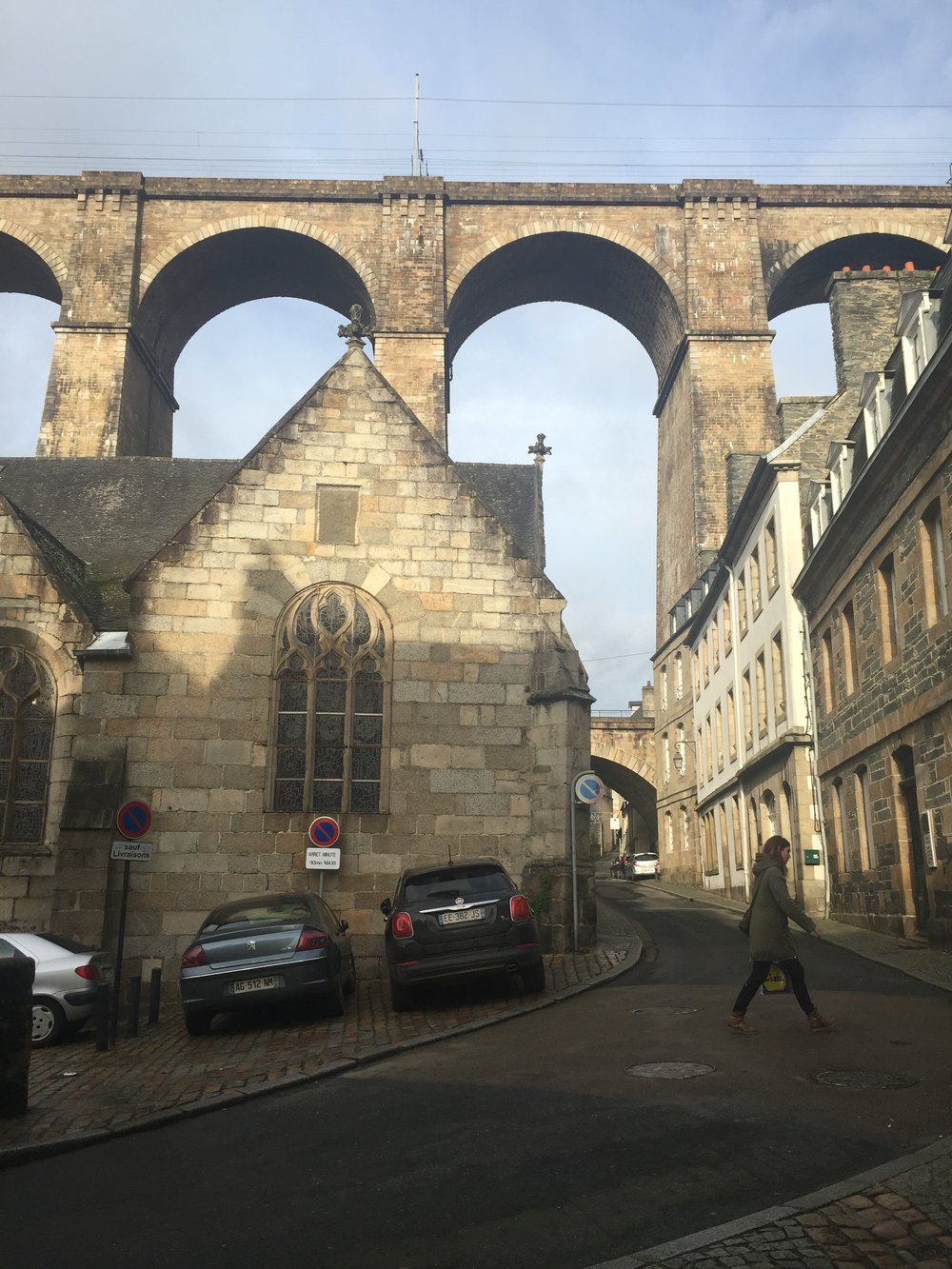Morlaix Viaduct towering over Morlaix
